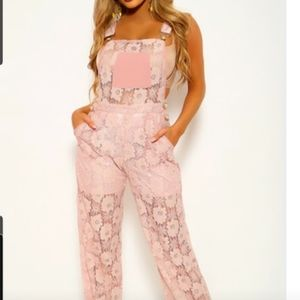 By Bal Boa ash pink floralace overlay overalls